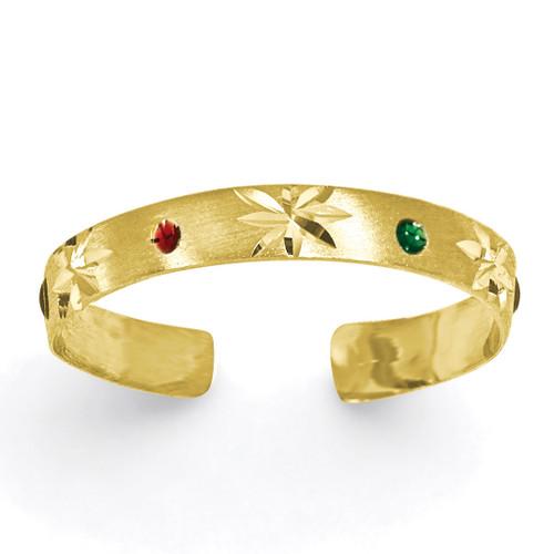 Enameled Toe Ring 14k Gold D963