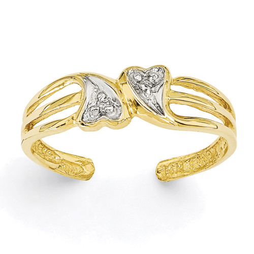 Double Heart .02ct Diamond Toe Ring 14k Gold K2031