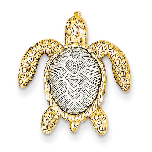 14k Two-tone White & Yellow Gold Turtle Pendant Slide 14k Two-Tone Gold K4881
