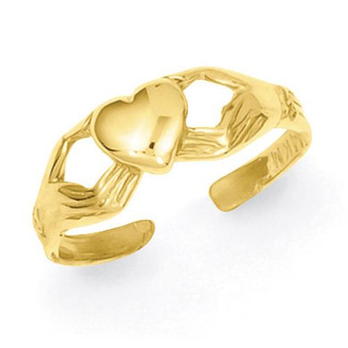 Claddagh Toe Ring 14k Gold Polished K5109