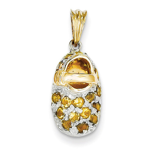 Prong-Set November Citrine Baby Shoe Charm 14K Gold & Rhodium K556