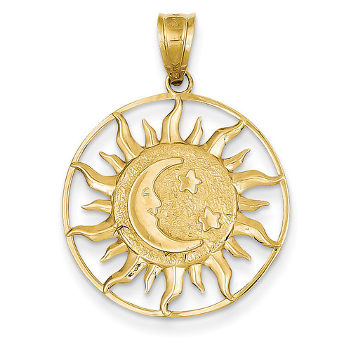 Sun with Moon & Star Charm 14k Gold Polished M475
