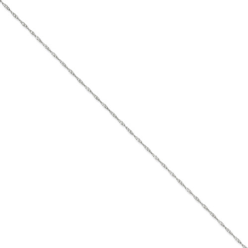 1.7mm Singapore Chain Anklet 9 Inch 14k White Gold PEN123-9