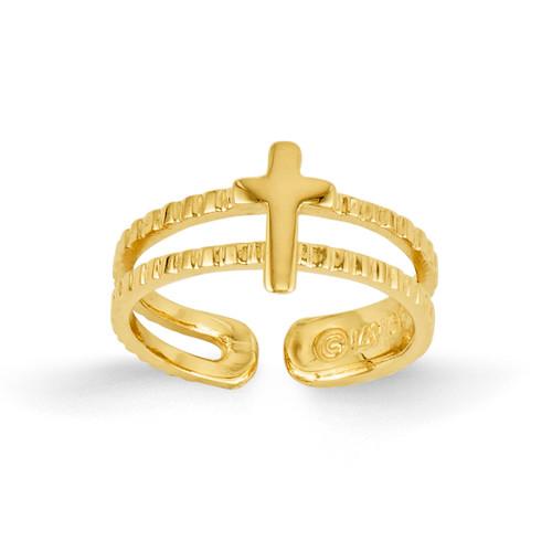 Cross Toe Ring 14k Gold R397