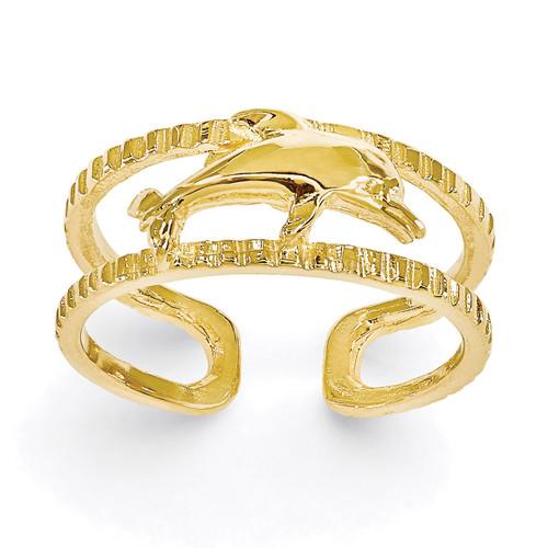 Dolphin Toe Ring 14k Gold R401