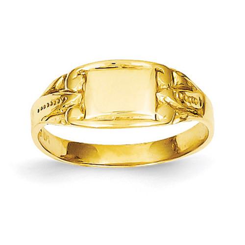 Rectangular Baby Signet Ring 14k Gold R524