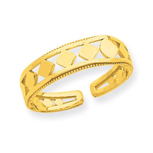 Diamond Shapes Toe Ring 14k Gold R548