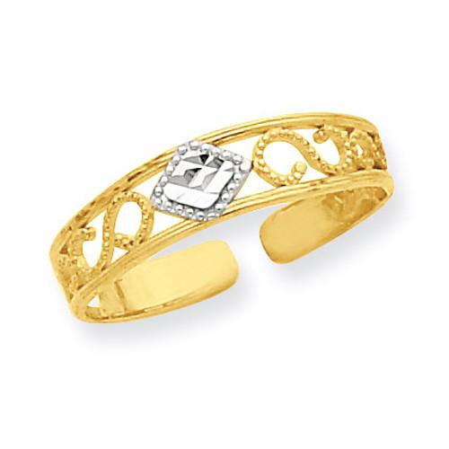 Diamond-Cut Toe Ring 14K Gold & Rhodium R552