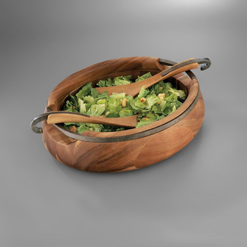 "Nambe Anvil Salad Bowl with Servers 16"" L x 13"" W x 5"" H Servers 12.5"" L Iron Finished Alloy Wood"