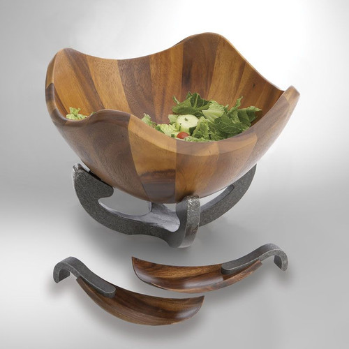 Nambe Anvil Scroll Wood Salad Bowl with Servers Iron Finish Alloy
