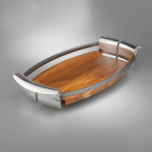 """Nambe Anvil Tray 20"""" L x 12"""" W Iron Finished Alloy Wood"""