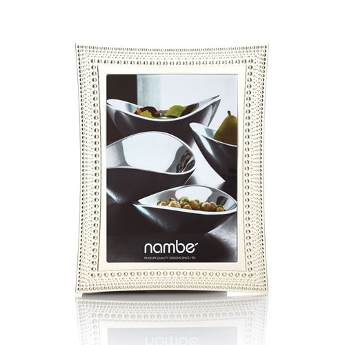 Nambe Beaded Picture Frame 5 Inch x 7 Inch Silver Plate