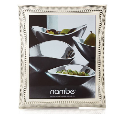 Nambe Beaded Picture Frame 8 Inch x 10 Inch Silver Plate