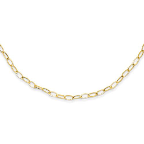 Oval Link Necklace 18 Inch 14k Gold SF1854-18