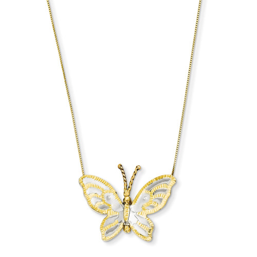 Butterfly Necklace 18 Inch 14k Yellow & Rose Gold with Rhodium SF1896-18