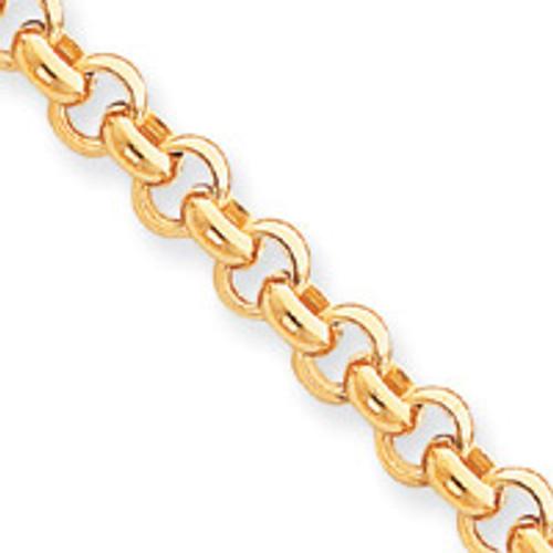 7mm Polished Fancy Rolo Link Bracelet 7.5 Inch 14k Gold SF419-7.5