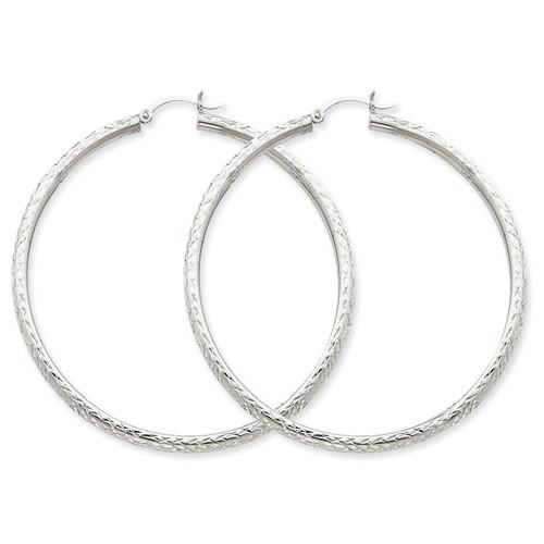 Diamond-cut 3mm Round Hoop Earrings 14k White Gold TC261
