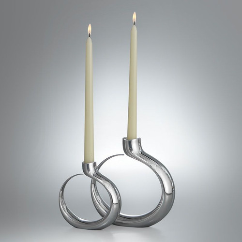 Nambe Globe Candlestick Pair (1 large and 1 small) Alloy