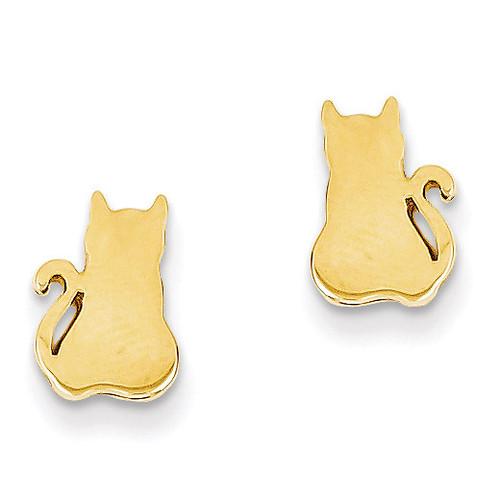 Cat Earrings 14k Gold TF536