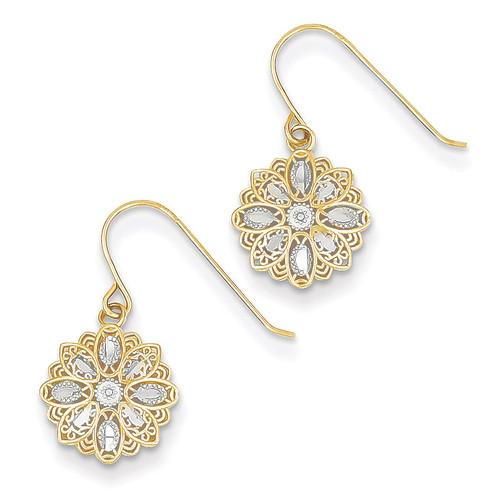 Polished Fancy Dangle Earrings 14K Gold & Rhodium TM740