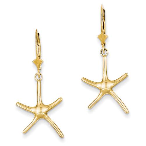 Starfish Leverback Earrings 14k Gold Polished TM768