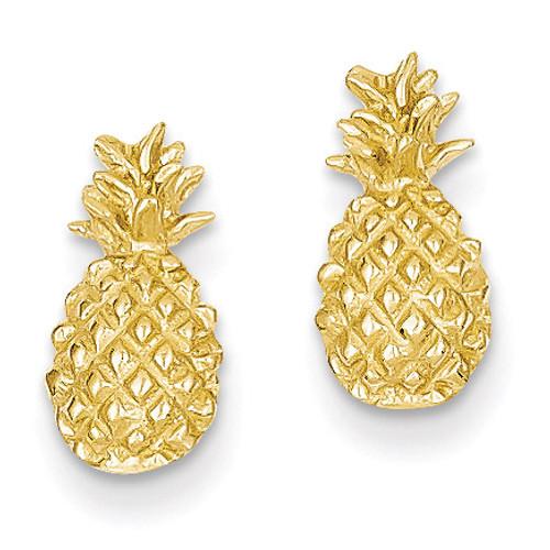 Pineapple Post Earrings 14k Gold Polished & Textured TM773