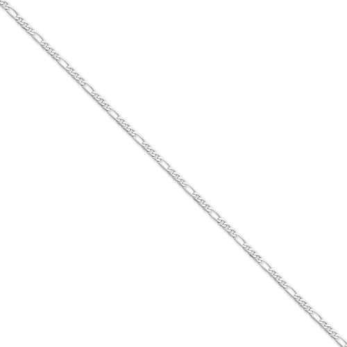 3.0mm Flat Figaro Chain Anklet 10 Inch 14k White Gold WFIG080-10