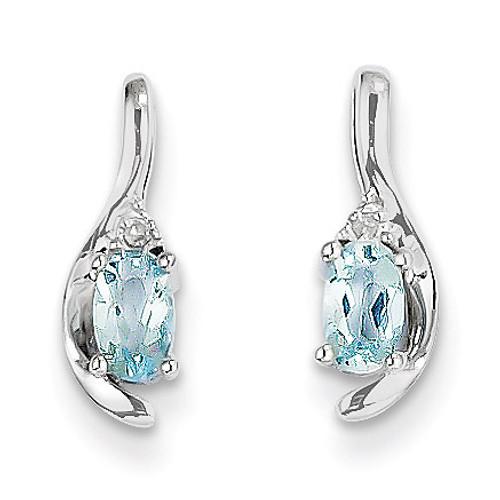 Aquamarine Diamond Earring 14k White Gold Genuine XBS379
