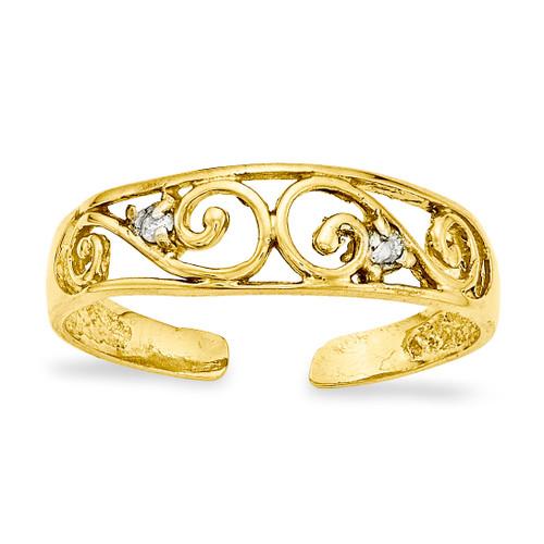 0.02ct Diamond Scroll Toe Ring 14k Gold XCH626