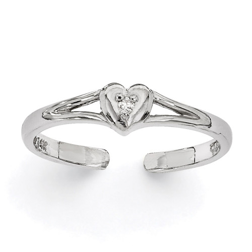 0.01ct Diamond Heart Toe Ring 14k White Gold XCH628