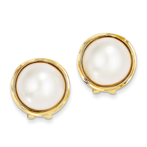 14-15mm Cultured Mabe Pearl Earrings 14k Gold XMP70