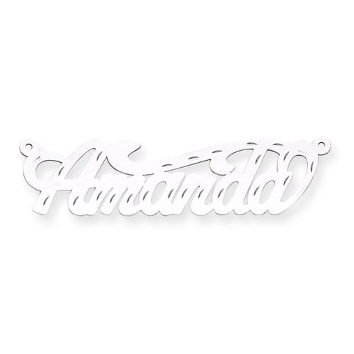 0.013 Gauge Polished Diamond-cut Nameplate 14k White Gold XNA153W