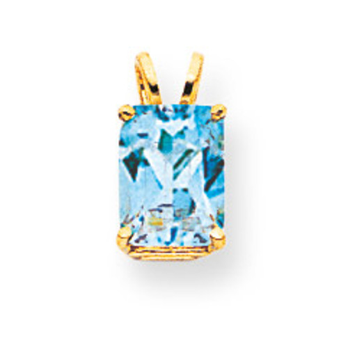 8x6mm Emerald Cut Blue Topaz pendant 14k Gold XP421BT