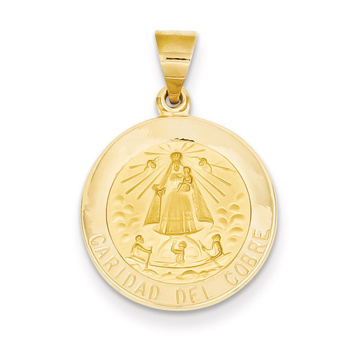 Caridad del Cobre Medal Pendant 14k Gold Polished and Satin XR1260