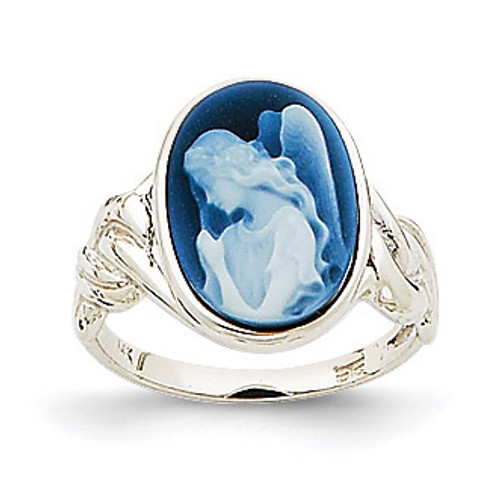 10x14mm Guardian Angel Agate Cameo Ring 14k White Gold XU528