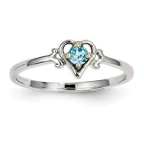 December Birthstone Heart Ring 14k White Gold Genuine YC423