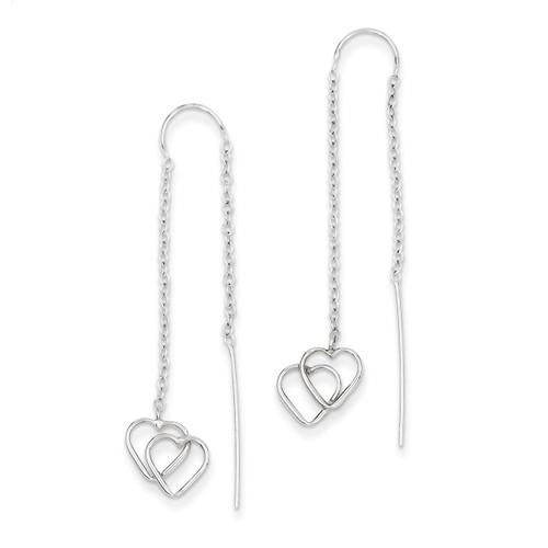 Double Heart Threader Earrings 14k White Gold YE1052