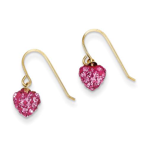Crystal Heart Dangle Earrings 14k Rose Gold YE1617