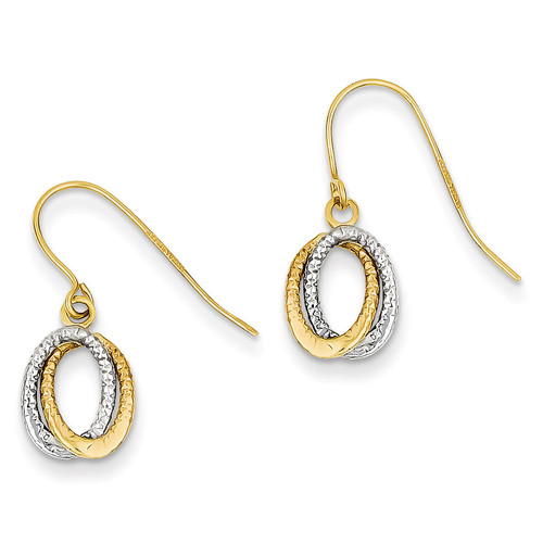 Fancy Dangle Earrings 14k Two-Tone Gold YE1661