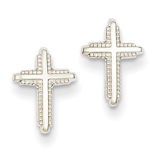 Polished Cross Post Earrings 14k White Gold YE1676