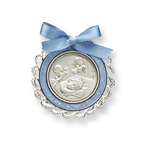 Blue Crib Medal Sterling Silver GP5484