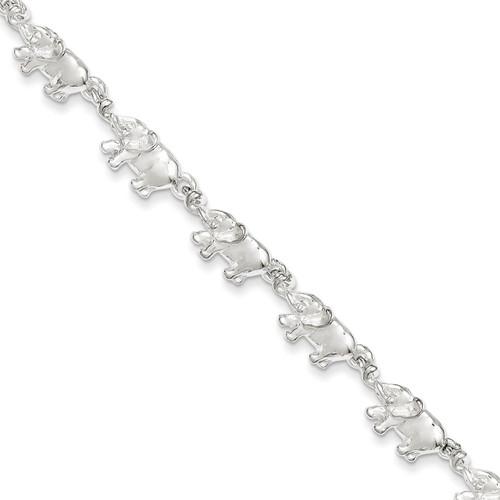 7 Inch Elephants Bracelet Sterling Silver QA13-7