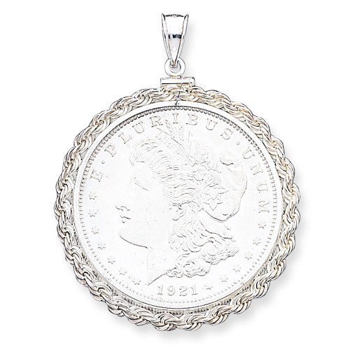 38.2 x 2.8mm Rope Coin Bezel Pendant Sterling Silver QBR3