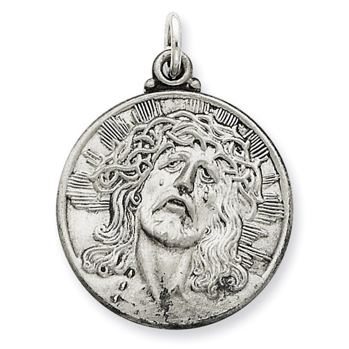 Ecce Homo Medal Antiqued Sterling Silver QC3443