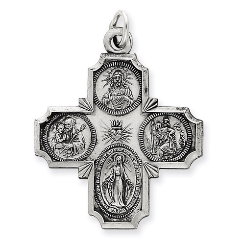 4-way Medal Antiqued Sterling Silver QC3471