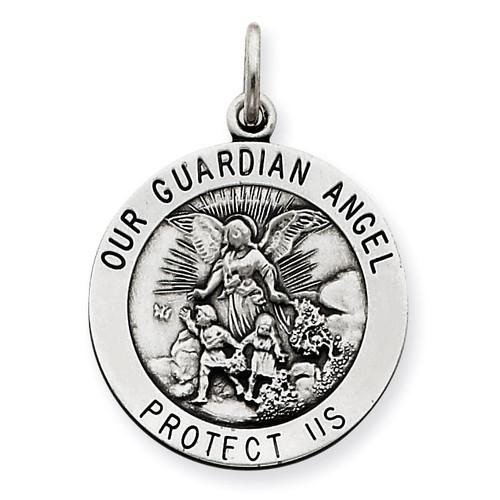 Guardian Angel Medal Antiqued Sterling Silver QC3627