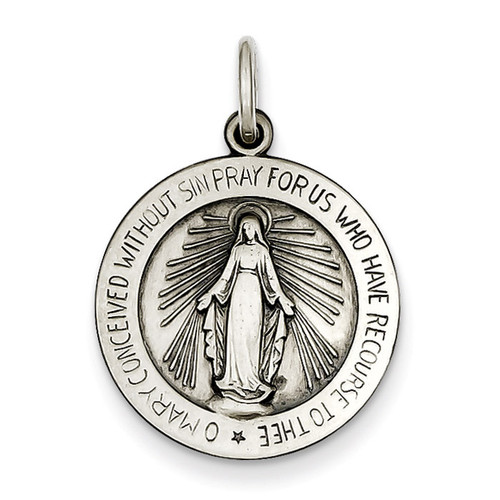 Miraculous Medal Antiqued Sterling Silver QC468