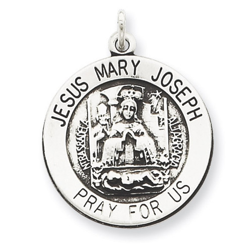 Holy Family Medal Antiqued Sterling Silver QC5478
