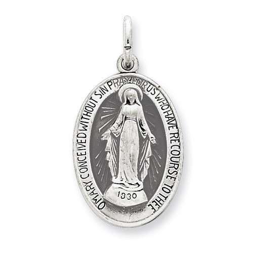 Miraculous Medal Antiqued Sterling Silver QC5521