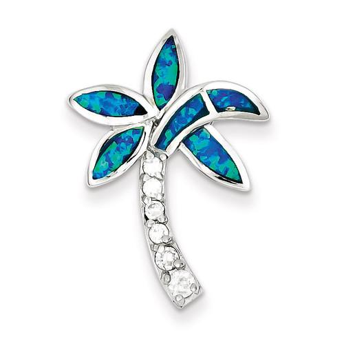 Blue Inlay Created Opal Palm Tree Pendant Sterling Silver Diamond QC7697